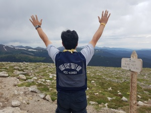 Father HyeonHo Kim on Trail Ridge Road lookout.