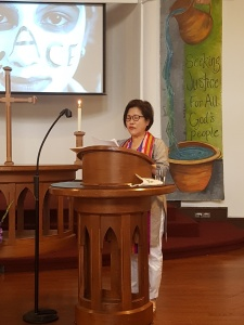 Rev. Moon Sook Lee gives a sermon encouraging us to become magpies.